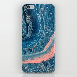 Navy, Teal, Rose, White, and Light Blue Paint Pour Waves iPhone Skin