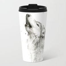 Wolf Howling Watercolor Animals Wildlife Painting Animal Portrait Travel Mug