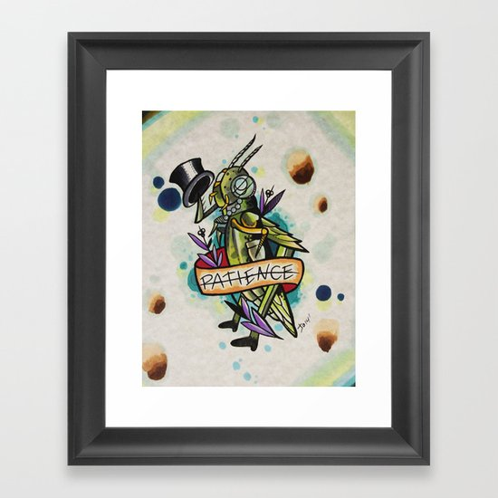 Patience Grasshopper Framed Art Print