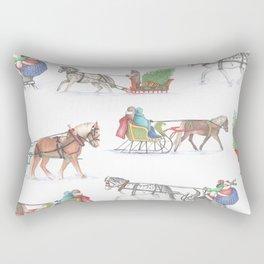 Horse and Sleigh Rectangular Pillow