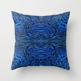 Blue Velvet Silk Watercolor Pattern Throw Pillow