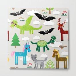 magic pattern with funny dragon bats unicorn horse deer bird wolf. illustration Metal Print