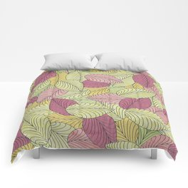 Vector Seamless Leaves Pattern Comforters