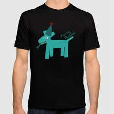 Party Animal-Teal MEDIUM Mens Fitted Tee Black