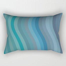 Zen Wavy Lines in Ocean Blue and Green Rectangular Pillow