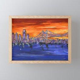 Ben Franklin Bridge Sunset Framed Mini Art Print