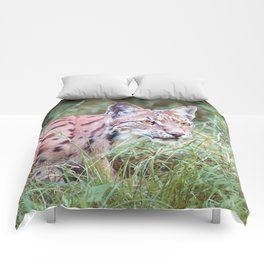 Lynx in the grass Comforters