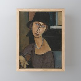 Modigliani - Jeanne Hebuterne With Hat And Necklace Framed Mini Art Print