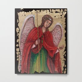 Archangel Gabriel Fresco Antique Looking Wall Art Metal Print