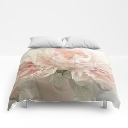 Shabby Chic Cottage Pastel Pink Peony Prints and Peony Home Decor Comforters