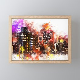 NYC Watercolor Collection - Black night on Manhattan Framed Mini Art Print