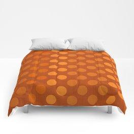 """""""Orange Burlap Texture & Polka Dots"""" Comforters"""
