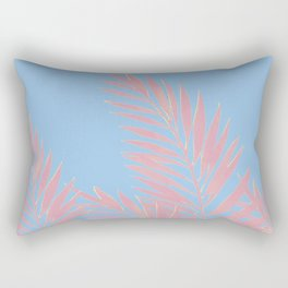 Palm Leaves Pink And Blue Rectangular Pillow