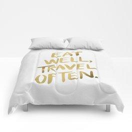 Eat Well Travel Often on Gold Comforters