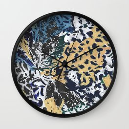 Leaves mimicricy in blue green Wall Clock