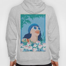 Blue Retro Summer Girl Hoody