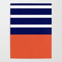 Summer Patio Perfect, Adobe Orange, White & Navy Poster