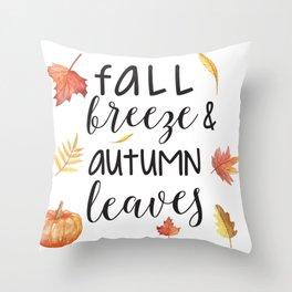 Fall breeze, autumn leaves Throw Pillow