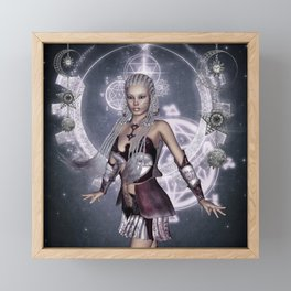 Wonderful steampunk fairy, clocks and gears Framed Mini Art Print