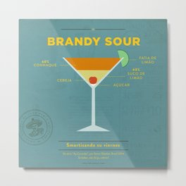 Brandy Sour - Cocktail by Smart Diseños Metal Print