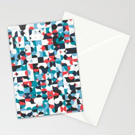 Circles Curves Shapes, Abstract and Geometry, Red, White, blues, black Stationery Cards