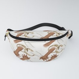 African American Hand By Hand Wedding Pattern Fanny Pack