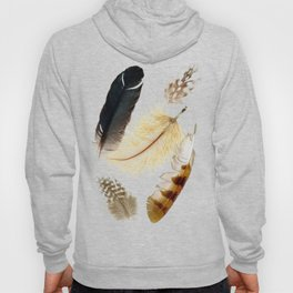 Brown feathers art, Five Feathers design, Tribal Boho style Hoody