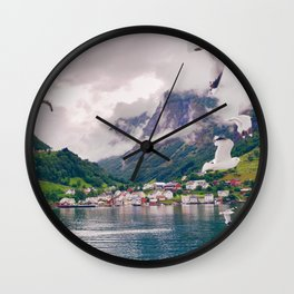 Wandering in Fjords Wall Clock