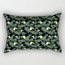 Happy Toucans And Tropical Leaves-Pattern Rectangular Pillow