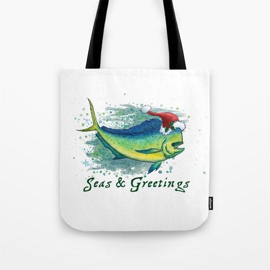 Seas and Greetings ~ Mahi Mahi Splash ~ Watercolor Tote Bag
