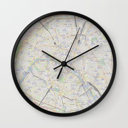 map of Paris – France, French,city of light,seine, parisien, parisian. Wall Clock