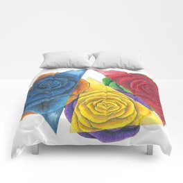 Complimentary Color Rose Trio With Geometric Triangles Comforters