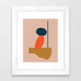 Abstract #1 Orange Blue Beige Framed Art Print