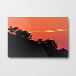 Silhouette Hill Trees Sunset Red Sky Landscape Metal Print