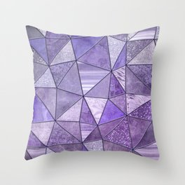 Purple Lilac Glamour Shiny Stained Glass Throw Pillow