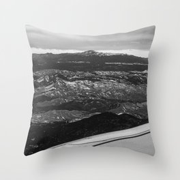 5280 Snowcap // Grainy Black & White Airplane Wing Landscape Photography of Colorado Rocky Mountains Throw Pillow