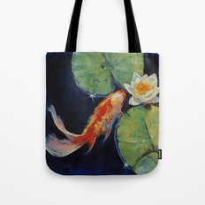 Koi and White Lily Tote Bag