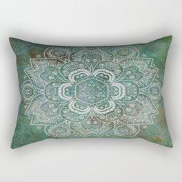 Silver White Floral Mandala on Green Textured Background Rectangular Pillow
