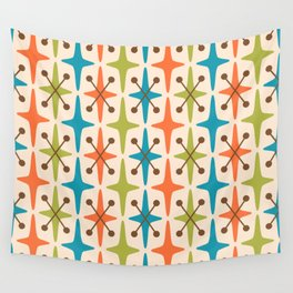 Mid Century Modern Abstract Star Pattern 441 Orange Brown Turquoise Chartreuse Wall Tapestry