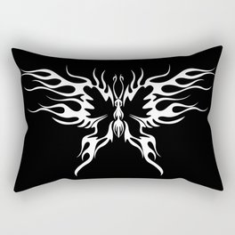 A tattoo with abstract flaming butterfly on the black background. Rectangular Pillow