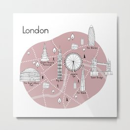 London Map - Pink Metal Print