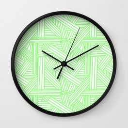 Sketchy Abstract (Light Green & White Pattern) Wall Clock