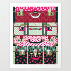 Pink patterned suitcases Art Print