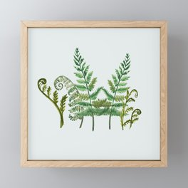 Fern Collage with Light Blue Gray Background Framed Mini Art Print