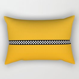 NY Taxi Cab Yellow with Black and White Check Band Rectangular Pillow