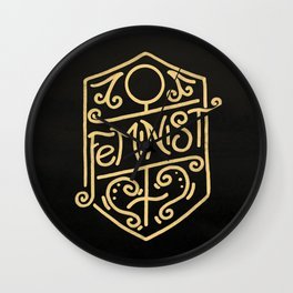 Feminist Art Nouveau Gold & Black Hand Drawn Illustration Wall Clock