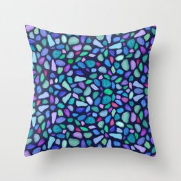 Colorful Scattered Sea Glass Design Throw Pillow