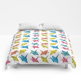 Colourfull paper cranes Comforters
