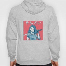 Determined Girl Holding a Katana Asian Comic Style Hoody