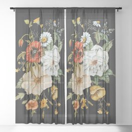 Wildflower Bouquet on Charcoal Sheer Curtain